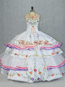 Super Organza and Taffeta Sleeveless Floor Length Vestidos de Quinceanera and Embroidery and Ruffled Layers