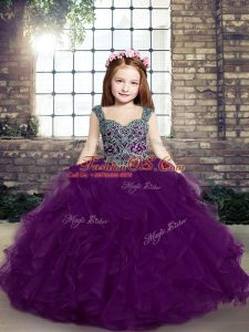 Straps Sleeveless Winning Pageant Gowns Floor Length Beading and Ruffles Eggplant Purple Tulle