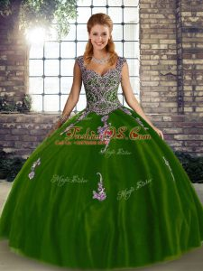 Sophisticated Olive Green Sleeveless Tulle Lace Up Quinceanera Gowns for Military Ball and Sweet 16 and Quinceanera