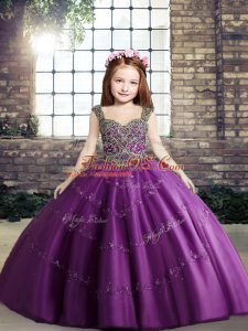 Nice Floor Length Ball Gowns Sleeveless Purple Pageant Dress Lace Up