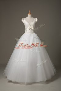 White Tulle Lace Up V-neck Short Sleeves Floor Length Wedding Dress Beading and Appliques and Bowknot
