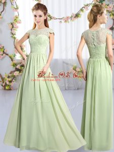 Amazing Cap Sleeves Chiffon Floor Length Clasp Handle Bridesmaid Dress in Yellow Green with Lace