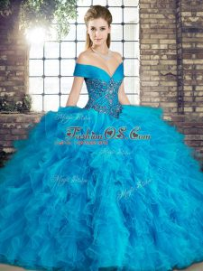 Traditional Ball Gowns 15 Quinceanera Dress Blue Off The Shoulder Tulle Sleeveless Floor Length Lace Up