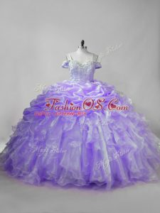 Lavender Straps Lace Up Beading and Ruffles and Pick Ups Sweet 16 Dresses Brush Train Sleeveless