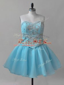 Baby Blue Sleeveless Organza Lace Up Teens Party Dress for Prom and Party