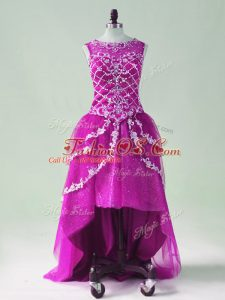 Free and Easy High Low Fuchsia Prom Dresses Scoop Sleeveless Zipper