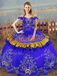 Decent Ball Gowns Vestidos de Quinceanera Blue Off The Shoulder Satin Sleeveless Floor Length Lace Up