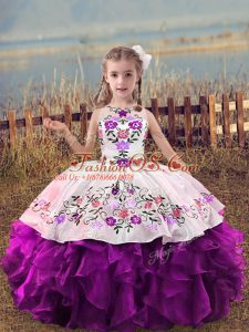 Floor Length Lace Up Girls Pageant Dresses Purple for Wedding Party with Embroidery and Ruffles