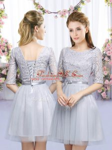 Noble Lace and Belt Damas Dress Grey Lace Up Half Sleeves Mini Length