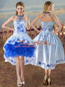 Customized Blue And White Evening Dress Halter Top Sleeveless Lace Up