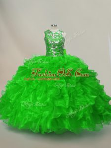 Low Price Ruffles and Sequins Quinceanera Gown Lace Up Sleeveless Floor Length