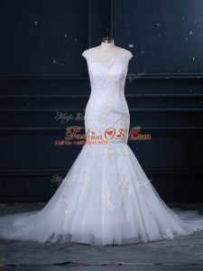 Graceful Scoop Sleeveless Tulle Wedding Dresses Lace Brush Train Clasp Handle