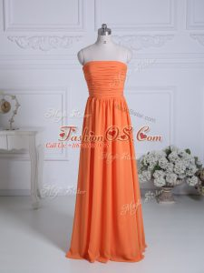 Orange Bridesmaid Gown Wedding Party with Ruching Strapless Sleeveless Zipper