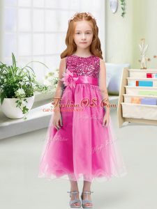 Noble Tea Length Rose Pink Flower Girl Dresses for Less Scoop Sleeveless Zipper
