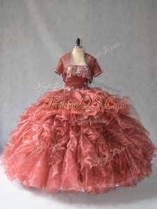 Latest Red Lace Up Quinceanera Gown Beading and Ruffles Sleeveless Floor Length