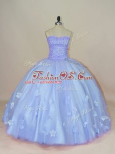 Fine Tulle Sweetheart Sleeveless Side Zipper Beading and Hand Made Flower Quinceanera Dress in Lavender