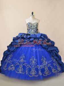 Royal Blue Taffeta and Tulle Lace Up Quince Ball Gowns Sleeveless Brush Train Beading