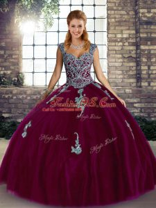 Beautiful Straps Sleeveless Tulle Quince Ball Gowns Beading and Appliques Lace Up