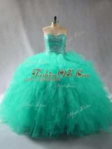 Decent Turquoise Tulle Lace Up Sweetheart Sleeveless Floor Length 15th Birthday Dress Beading and Ruffles