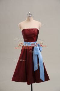 Strapless Sleeveless Taffeta Prom Dresses Sashes ribbons Zipper