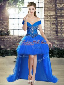 Sweet Blue Lace Up Off The Shoulder Beading Tulle Sleeveless