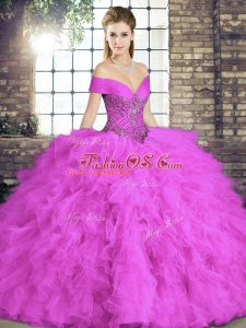Vintage Tulle Sleeveless Floor Length Quinceanera Dress and Beading and Ruffles