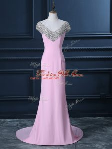 Spectacular V-neck Cap Sleeves Court Train Side Zipper Prom Dresses Pink Chiffon
