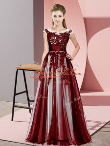 Customized Burgundy Scoop Neckline Beading and Lace Bridesmaid Dress Sleeveless Zipper