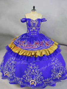 Sophisticated Blue Sleeveless Floor Length Embroidery Lace Up 15th Birthday Dress