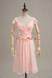 Stunning Pink Cap Sleeves Ruching Zipper Party Dresses
