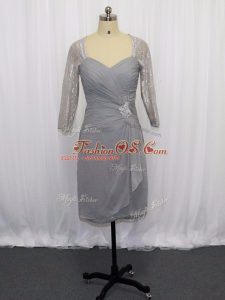 Chiffon Sweetheart Half Sleeves Zipper Beading and Ruching Mother Of The Bride Dress in Grey