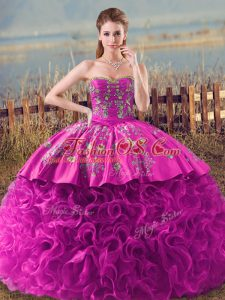 Fabric With Rolling Flowers Sleeveless Quinceanera Gown Brush Train and Embroidery and Ruffles