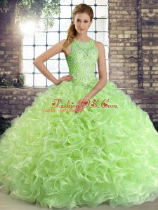 Elegant Fabric With Rolling Flowers Lace Up Quinceanera Dress Sleeveless Floor Length Beading