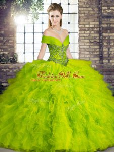 High End Olive Green Ball Gowns Tulle Off The Shoulder Sleeveless Beading and Ruffles Floor Length Lace Up Sweet 16 Dress