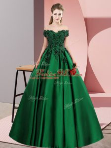Green Satin Zipper Off The Shoulder Sleeveless Floor Length Quinceanera Gown Lace