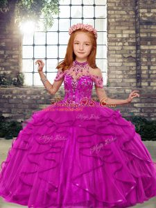 Simple Fuchsia High-neck Lace Up Beading and Ruffles Little Girls Pageant Dress Wholesale Sleeveless