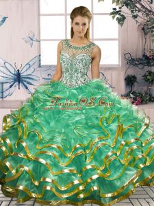Custom Fit Turquoise Organza Lace Up Sweet 16 Dresses Sleeveless Floor Length Beading and Ruffles