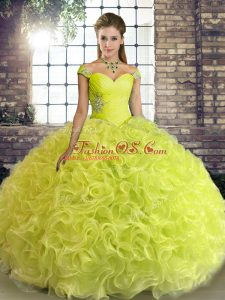 Charming Yellow Green Ball Gowns Off The Shoulder Sleeveless Fabric With Rolling Flowers Floor Length Lace Up Beading Quinceanera Dress