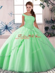 Deluxe Ball Gowns Sleeveless Apple Green Quinceanera Dresses Brush Train Lace Up
