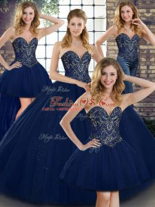 Sexy Navy Blue Sweetheart Lace Up Beading Sweet 16 Dress Sleeveless