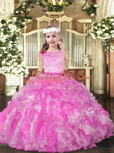 Superior Lilac Ball Gowns Scoop Sleeveless Organza Floor Length Zipper Beading and Ruffles Little Girl Pageant Gowns