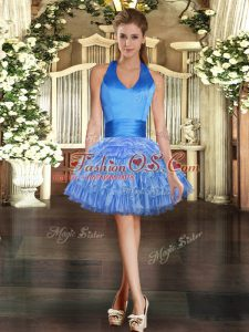 Blue Lace Up Club Wear Beading and Ruffled Layers Sleeveless Mini Length