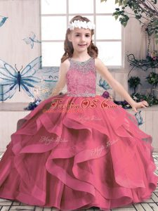 Superior Scoop Sleeveless Tulle Pageant Dress for Womens Beading and Ruffles Lace Up