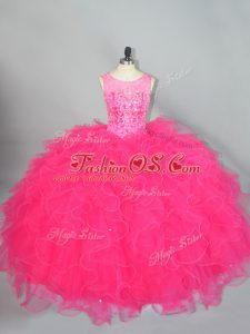 Beading and Ruffles Quinceanera Gowns Hot Pink Lace Up Sleeveless Floor Length