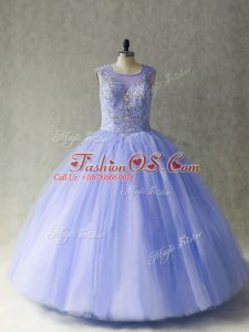Sumptuous Lavender Tulle Lace Up Scoop Sleeveless 15th Birthday Dress Beading