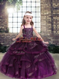 Elegant Eggplant Purple Ball Gowns Tulle Straps Sleeveless Beading and Ruffles Floor Length Lace Up Little Girls Pageant Dress Wholesale