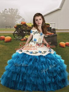 Floor Length Lace Up Little Girls Pageant Dress Wholesale Blue for Party and Military Ball and Wedding Party with Embroidery and Ruffled Layers
