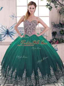 Gorgeous Green Ball Gowns Tulle Sweetheart Sleeveless Beading and Embroidery Lace Up Quinceanera Dress