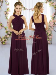 Sexy Floor Length Burgundy Bridesmaid Dresses Chiffon Sleeveless Ruching