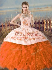 Vintage Orange and Rust Red Ball Gowns Embroidery Sweet 16 Dress Lace Up Organza Sleeveless